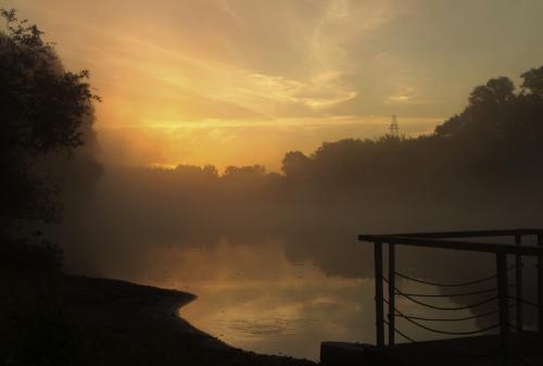 mist fog sunrise river sky