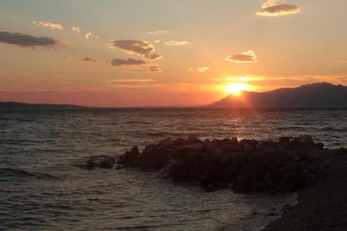 sunset croatia seaside sea sky sun waves